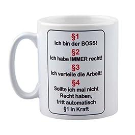"""Tasse mit Spruch """"Ich bin der Boss"""" – Regeln / Paragraphen für das Büro"""