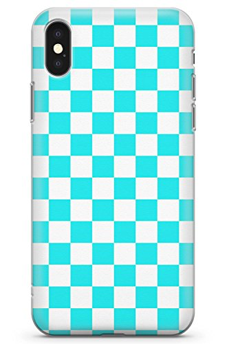 (Case Warehouse iPhone XR Case, Blue Checkered Phone Case Clear Ultra Thin Lightweight Gel Silicon TPU Protective Cover | Pattern Checkerboard Plaid Checked Checkers)