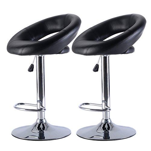 Set of 2 PU Leather Adjustable Swivel Bar Stool Hydraulic Chair Barstools (Black)