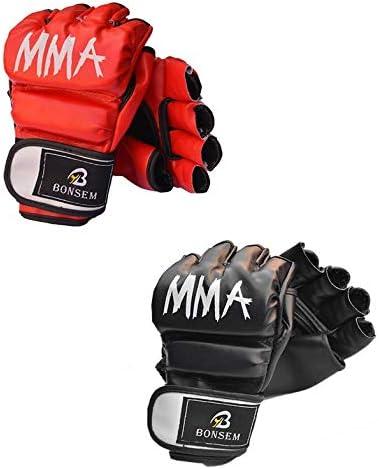 Turobayuusaku A Pair//Set Comfortable MMA Boxing Gloves Soft PU Half Finger Training Gloves