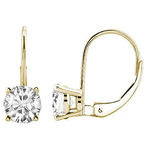 1.00 CTW Round White Diamond Leverback Earrings in 14K Yellow Gold