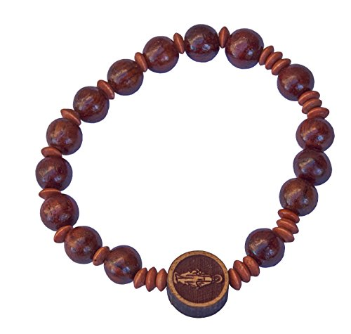 Hand-made Dark Wood Rosary Elastic Bracelet