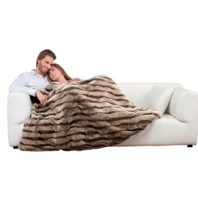 Dreamland De Luxe Faux Fur Brown Beige Electric Heated Throw 40w Best Heating Blanket Throw