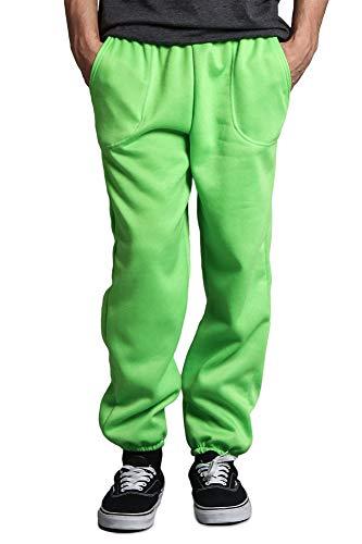 Victorious Men's Elastic Cuff Fleece Sweatpants - HILLSP - Lime - Small (Green Sweatpants Kids)
