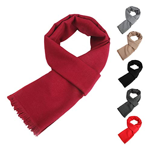Mens Womens Long Thin Spring Winter Scarf Solid Color Soft Warm Cashmere Feel Tassel Scarves Unisex Fashion Scarf Wine Red Tassels (Fashion Scarf Unisex)