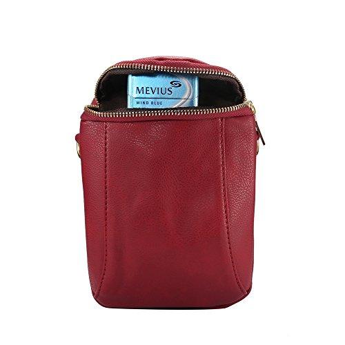 Crossbody Purse Multi Functional Pocket Bag Red PU Handbag Leather 0wEHEqxg