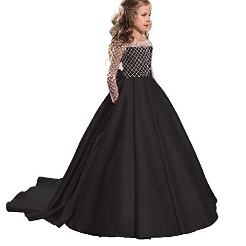 Masquerade Ball Dresses For Girls (Christmas Flower Girl Dress Floor Length Button Draped Tulle Ball Gowns for Kids (12,)