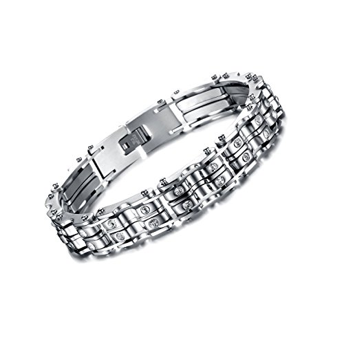 Heavy Duty Stainless Men's Bracelet with Bicycle Chain Link for Mans Extra Large Wrist. Unadjustable Sliver 9