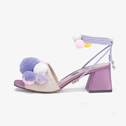 Sandals ZHIRONG Fashion Women's Summer Bandages High-heeled, Fashion Party Shoes, Dating Shoes, (Color : Purple, Size : EU37/UK4.5-5/CN37) Purple