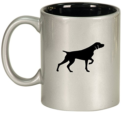 Ceramic Coffee Tea Mug Cup German Shorthaired Pointer (Silver) (German Pointer Mug Shorthaired)