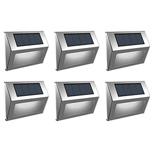 EleLight Solar Step Lights Outdoor Waterproof LED Motion Sensor Lights Wireless Security Night Lights for Porch Stairs Garden Patio Stairs Paths Patio Decks Fence (6 Pack)