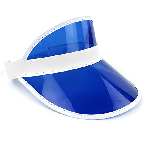 Retro Beach Colored Plastic Clear Sun Visor Hat, Blue, One Size