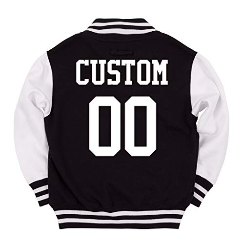 Custom Kids Varsity Jacket Name Number: Youth Varsity Letterman Jacket Black/White