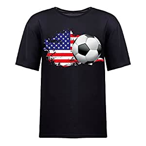 Custom Mens Cotton Short Sleeve Round Neck T-shirt,2014 Brazil FIFA World Cup US black