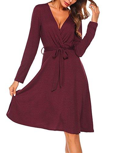 Dot Spring Dress (Grabsa Women's Polka Dots Long Sleeve Tie Waist Above Knee Wrap Dress Beach Dress Wine Red Medium)