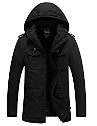 Wantdo Men's Windproof Thick Parka Coat Front Zipper Jacket(Black,Large)