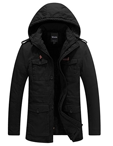 Wantdo Men's Winter Thicken Outwear Coat With Removable Hood (Black, Medium) by Wantdo