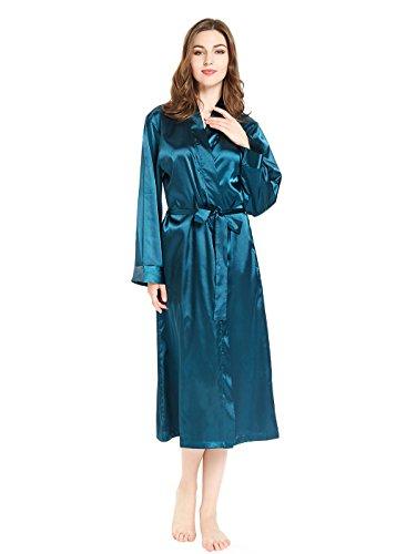 Silky Satin Long Sleeve Robe For Women, Kimono Full Length Dressing Gown, Green (Long Sleeve Satin Robe)