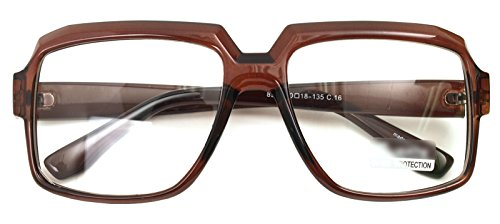 Oversized Square Thick Horn Rimmed Eyeglasses Vintage Inspired Geek Clear Lens (BROWN 8908, - Men Glasses Large Frame