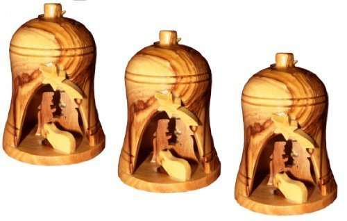 3 Small Olive Wood Nativity Bell Ornaments by My Caring (Small Cross Ornament)