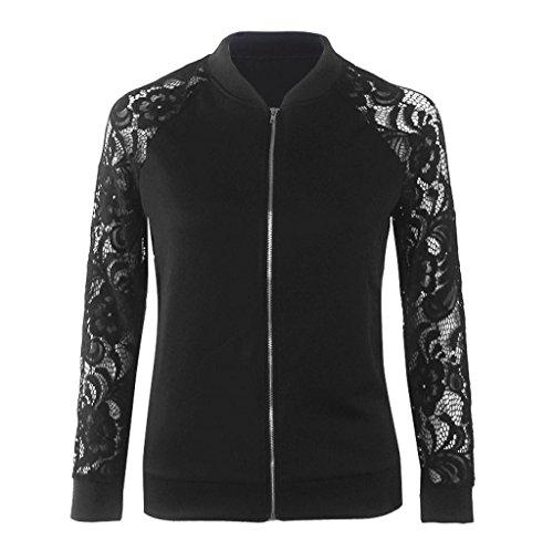 Tongshi Mujer Largo Manga Cordón Traje chaqueta Casual Chaqueta Capa Desgastar Abrigo Negro