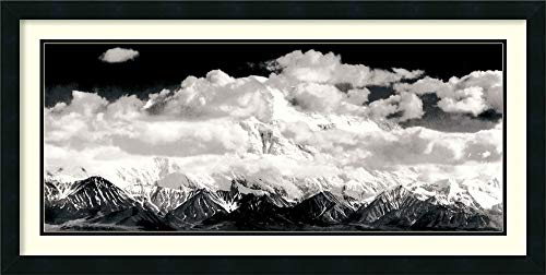 (Framed Art Print 'Mount McKinley Range, Clouds, Denali National Park, Alaska, 1948' by Ansel Adams: Outer Size 39 x 20)