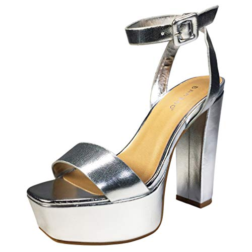 BAMBOO Women's Single Band High Platform Sandal with Ankle Strap, Silver PU, 7.5 B (M) US