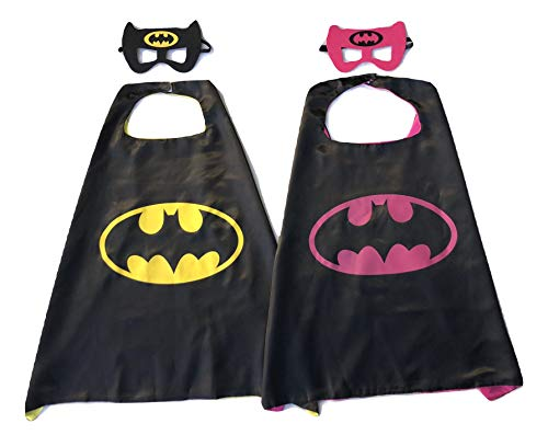 Superhero Direct Batman & Robin Cape and Mask - Kids Size (Batgirl - Batman) Black ()