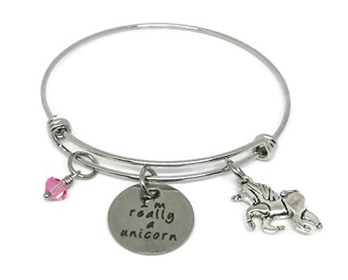 I am really a unicorn Stainless Steel charm Bracelet - Adjustable Bangle personalized with birthstone