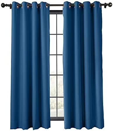 ChadMade Flame Retardant Curtain Thermal Insulated Blackout Extra Wide Window Antique Bronze Grommet Eyelet Blue 150W x 102L Inch 1 Panel Exclusive