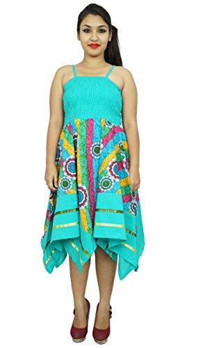 Verano ocasional vestido floral tamaño largo Vestido de tirantes partido de las mujeres XS desgaste de la playa Verde