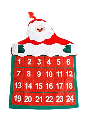 juler 2pcs Seasonal Décor Christmas Novelty Decoration Christmas Velvet hot Flower Old Man Calendar Christmas Calendar,Red,One Size]()