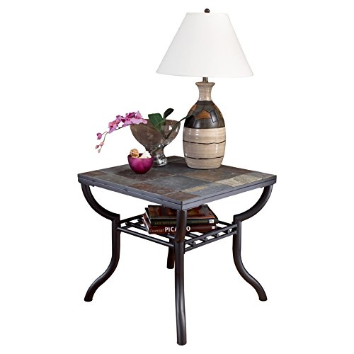 Slate Top Table (Ashley Furniture Signature Design - Antigo Living Room End Table - Slated Top with Metal Bottom - Contemporary - Black)