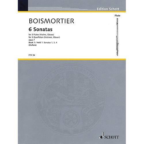 (6 Sonatas, Op 7 for Three Flutes - Vol 1 Schott by Joseph Bodin De Boismortier Arranged by Erich Doflein- Pack of 2)