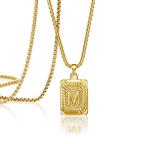 Joycuff Gold Initial Necklace for Women Pendant Necklaces 16 18 20 22 24 Inch Trendy Handmade Square Stainless Steel…