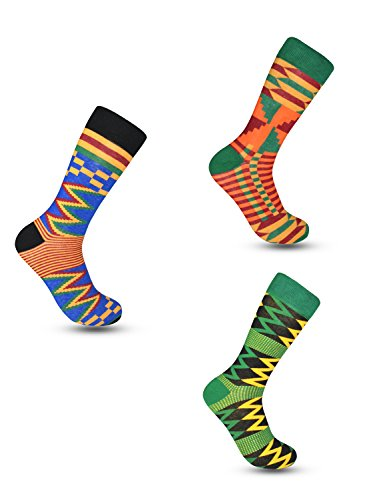 Advansync Kente Cloth Socks (9-12, 3 Pack Bundle No 1)