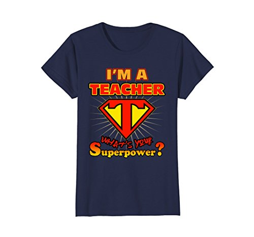 Womens 2 Sided Superhero I'm a Teacher What's Your Superpower Large Navy -