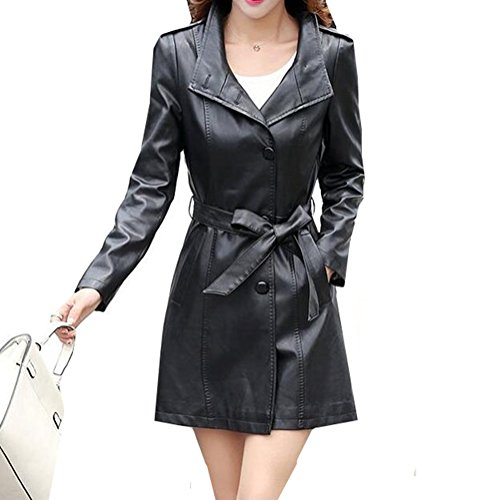 Black Leather Trench Coats - 8