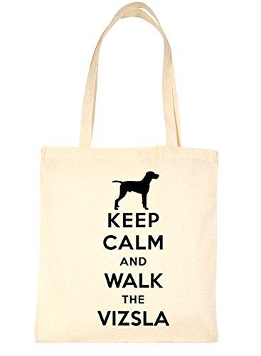 Print4u Shopping Tote Bag Keep Calm and Walk The Vizsla Dog Natural