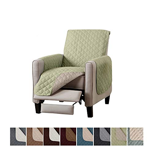 Home Fashion Designs Deluxe Reversible Quilted Furniture Protector. Perfect for Families with Pets and Kids. (Recliner, Tea Green)