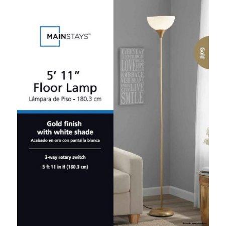 Mainstays metal floor lamp gold amazon aloadofball Image collections