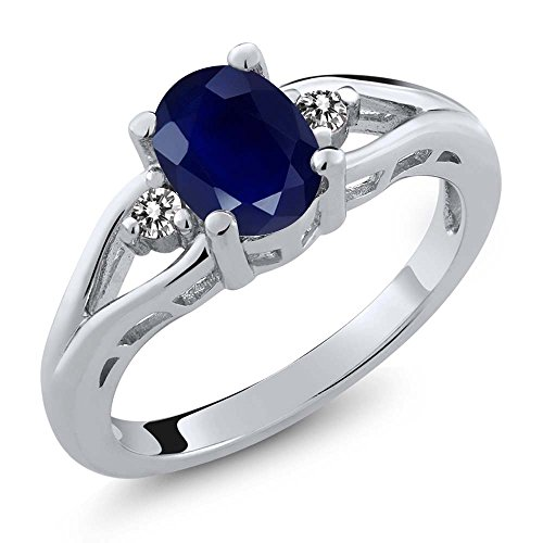 Gem Stone King Blue Sapphire and White Diamond 925 Sterling Silver 3-Stone Women's Ring (1.86 Ct Oval Available in size 5, 6, 7, 8, 9)