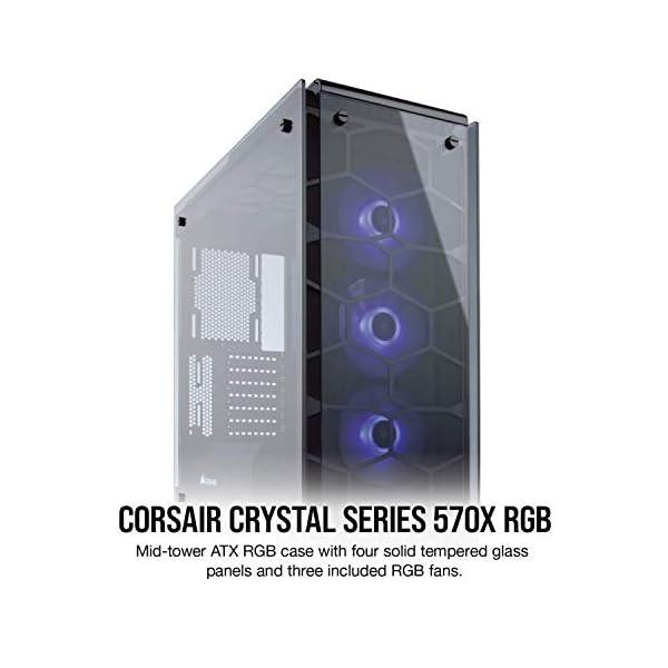Corsair Crystal 570X RGB Mid-Tower Case, 3 RGB Fans, Tempered Glass - Black