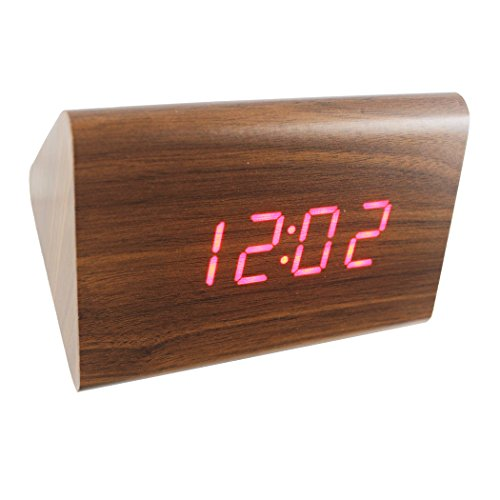 (Dianoo Wooden Series Modern Mini Triangle Wood Alarm Clock - Time Temperature Date - Sound Control (Brown Wood + Red Light))