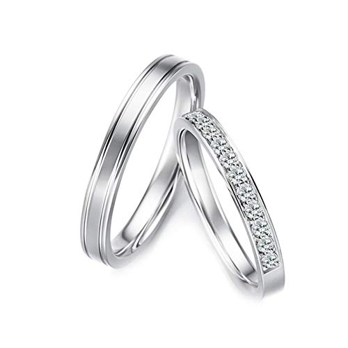Gnzoe 1 Pair 18K White Gold Wedding Bands for Bride and Birdegroom Line Row with Diamond 0.28ct Engagement Wedding Ring…