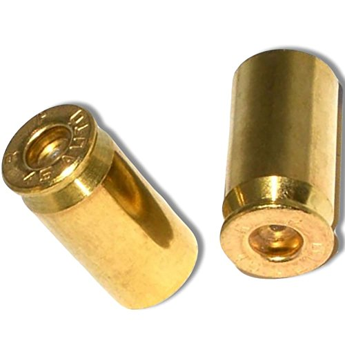 """(2 Count) """"45 Cal Bullet Shells Easy Grip Design"""" Stem Dust Cap Seal Made of Genuine Anodized Brass Metal { Gold Color - Hard Metal Internal Threads for Easy Application - Rust (Cal Bullet)"""