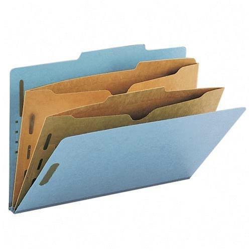 Smead Pressboard Classification Folders, Self Tab, Legal, Four-Section, Red, 10/Box