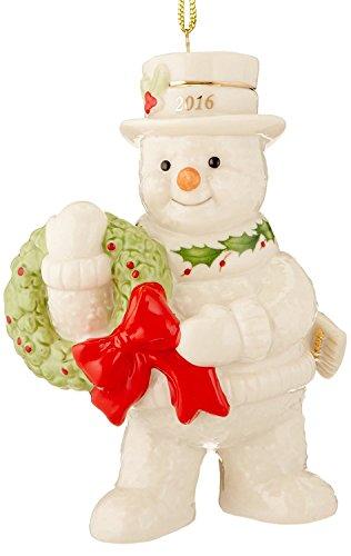 Happy Holly Wreath (Lenox 2016 Snowman Figurine Ornament Annual Happy Holly Days Christmas)