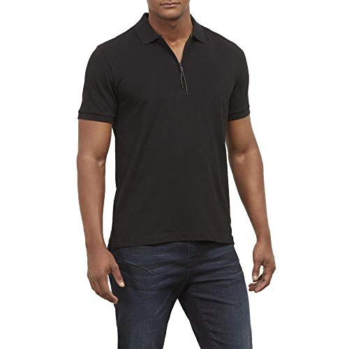 Kenneth Cole New York Short Sleeve Zip Polo in Stretch Pique Black