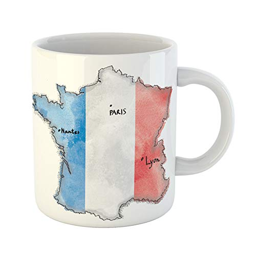 Emvency Coffee Tea Mug Gift 11 Ounces Funny Ceramic French France Map on Flag Drawing Vintage Watercolor Lyon Gifts For Family Friends Coworkers Boss Mug -